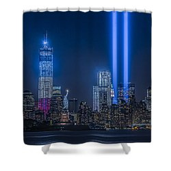 New York City Tribute In Lights Shower Curtain by Susan Candelario