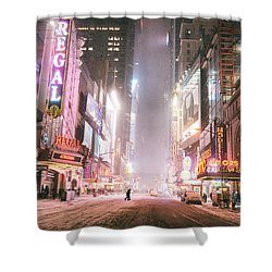 New York City - Winter Night - Times Square In The Snow Shower Curtain by Vivienne Gucwa