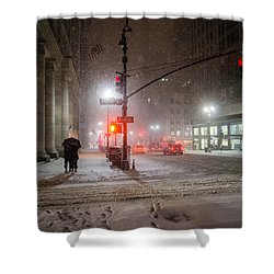 New York City Winter - Romance In The Snow Shower Curtain by Vivienne Gucwa