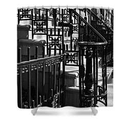 New York City Wrought Iron Shower Curtain by Rona Black