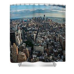 New York From A Birds Eyes - Fisheye Shower Curtain by Hannes Cmarits