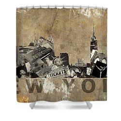 New York City Grunge Shower Curtain