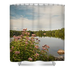 Shower Curtain featuring the photograph New York Lake by Debbie Green
