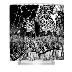 New York Map Black And White 2 Shower Curtain by Bekim Art