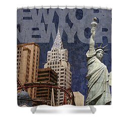 New York New York Las Vegas Shower Curtain by Art Whitton