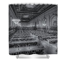 New York Public Library Rose Room Bw Shower Curtain by Susan Candelario