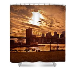 New York Skyline And Brooklyn Bridge -- Late Afternoon Shower Curtain by Mitchell R Grosky