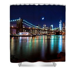 New York Skyline And Brooklyn Bridge With Crescent Moon Rising Shower Curtain by Mitchell R Grosky
