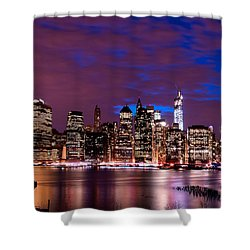 New York Skyline Magic Hour-- From Brooklyn Heights Promenade Shower Curtain by Mitchell R Grosky