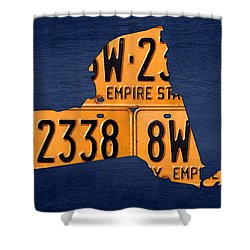 New York State License Plate Map Shower Curtain