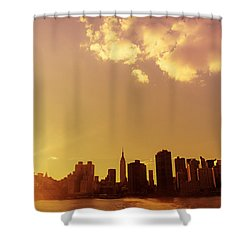 New York Sunset Skyline Shower Curtain by Vivienne Gucwa
