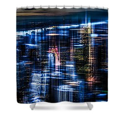 New York - The Night Awakes - Blue I Shower Curtain