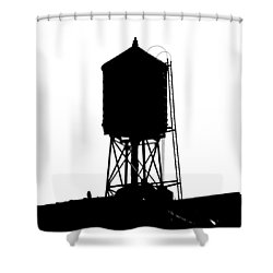 Shower Curtain featuring the photograph New York Water Tower 17 - Silhouette - Urban Icon by Gary Heller