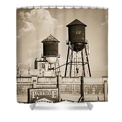 Shower Curtain featuring the photograph New York Water Tower 8 - Williamsburg Brooklyn by Gary Heller