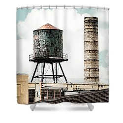 Shower Curtain featuring the photograph Water Tower And Smokestack In Brooklyn New York - New York Water Tower 12 by Gary Heller