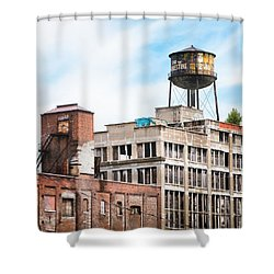 Shower Curtain featuring the photograph New York Water Towers 18 - Greenpoint Water Tower by Gary Heller
