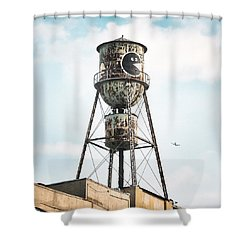 Shower Curtain featuring the photograph New York Water Towers 9 - Bed Stuy Brooklyn by Gary Heller