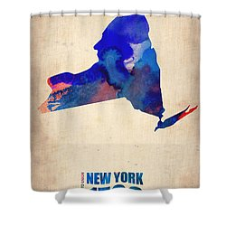 New York Watercolor Map Shower Curtain by Naxart Studio