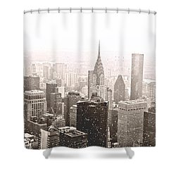 New York Winter - Skyline In The Snow Shower Curtain by Vivienne Gucwa