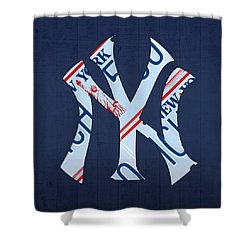 New York Yankees Baseball Team Vintage Logo Recycled Ny License Plate Art Shower Curtain by Design Turnpike