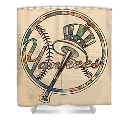 New York Yankees Poster Vintage Shower Curtain by Florian Rodarte