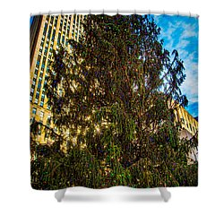 Shower Curtain featuring the photograph New York's Holiday Tree by Chris Lord