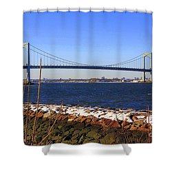 New York's Throgs Neck Bridge Shower Curtain by  Photographic Art and Design by Dora Sofia Caputo
