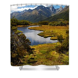 Shower Curtain featuring the photograph New Zealand Alpine Landscape by Cascade Colors