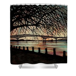 Newburgh Beacon Bridge Sunset Shower Curtain by Janine Riley
