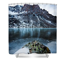 Frozen Mountain Lake Shower Curtain