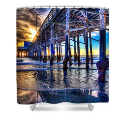 Newport Beach Pier - Low Tide Shower Curtain