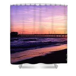 Newport Beach Pier Sunset In Orange County California Shower Curtain by Paul Velgos