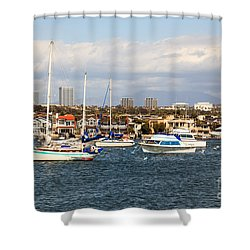 Newport Beach Skyline In Orange County California Shower Curtain by Paul Velgos