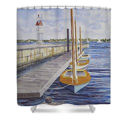 Shower Curtain featuring the painting Newport Boats In Waiting by Carol Flagg