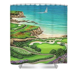 Shower Curtain featuring the painting Newport Coast by Jane Girardot