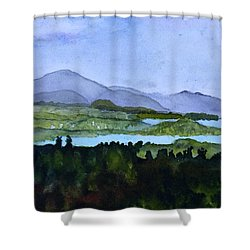 Shower Curtain featuring the painting Newport From Brownington Lookout by Donna Walsh