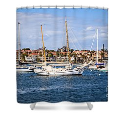 Newport Harbor Boats In Orange County California Shower Curtain by Paul Velgos