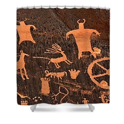 Newspaper Rock Close-up Shower Curtain by Gary Whitton