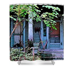Next Door To Aunt Agnes Shower Curtain by Patricia Greer
