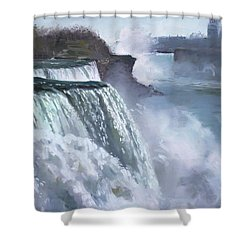 Niagara American Falls Shower Curtain by Ylli Haruni