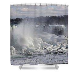 Niagara Falls Awesome Ice Buildup - American Falls New York State Usa Shower Curtain by Georgia Mizuleva