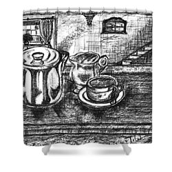 Shower Curtain featuring the drawing Nice Cup Of Tea by Teresa White