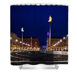 Nice France - Place Massena Blue Hour  Shower Curtain