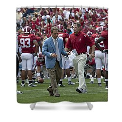 Nick Saban And The Tide Shower Curtain by Mountain Dreams