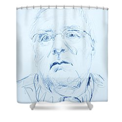 Shower Curtain featuring the drawing Nick's Portrait by PainterArtist FINs husband Maestro