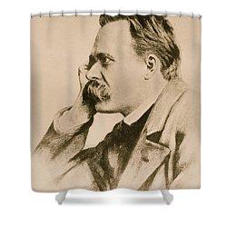 Nietzsche Shower Curtain by Anonymous