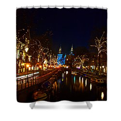 Nieuwe Spieglestraat At Night Shower Curtain by Jonah  Anderson