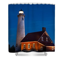 Night At The Lighthouse Shower Curtain
