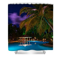 Night At Tropical Resort Shower Curtain by Jenny Rainbow