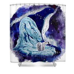 Shower Curtain featuring the painting Night Bear by Sherry Shipley